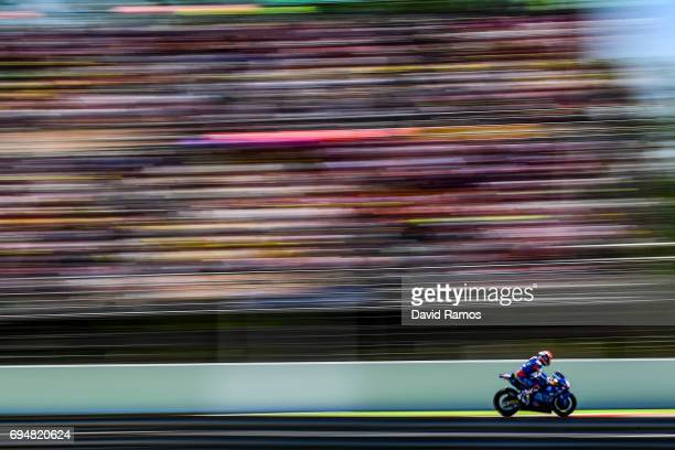 Mattia Pasini of Italy and Italtrans Racing Team rides during the Moto2 of Catalunya at Circuit de Catalunya on June 11 2017 in Montmelo Spain