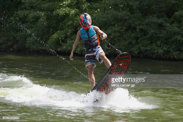Mattia Pasini of Italy and Italtrans Racing Team rides during the preevent 'Motogp riders make a JetSurf competition at the Brno Dam' during the...