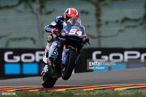Mattia Pasini of Italy and Italtrans Racing Team rides in qualifying during the MotoGP of Germany at Sachsenring Circuit on July 1 2017 in...