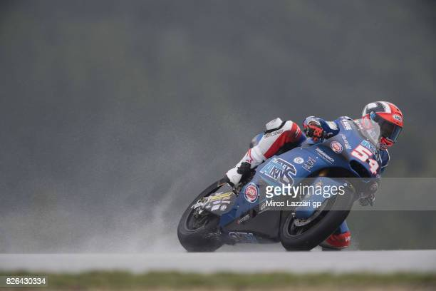 Mattia Pasini of Italy and Italtrans Racing Team rounds the bend during the MotoGp of Czech Republic Free Practice at Brno Circuit on August 4 2017...
