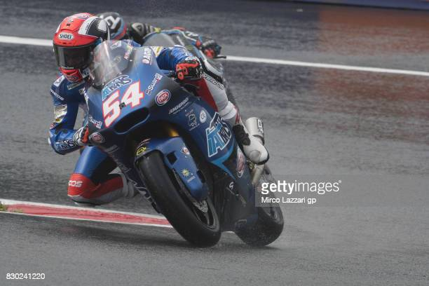 Mattia Pasini of Italy and Italtrans Racing Team rounds the bend during the MotoGp of Austria Free Practice at Red Bull Ring on August 11 2017 in...