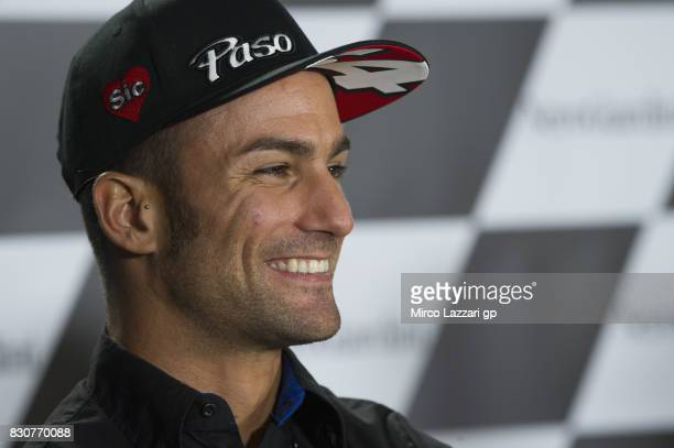 Mattia Pasini of Italy and Italtrans Racing Team smiles during the press conference during the MotoGp of Austria Qualifying at Red Bull Ring on...