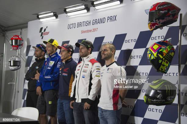 Mattia Pasini of Italy and Italtrans Racing Team Valentino Rossi of Italy and Movistar Yamaha MotoGP Marc Marquez of Spain and Repsol Honda Team Cal...