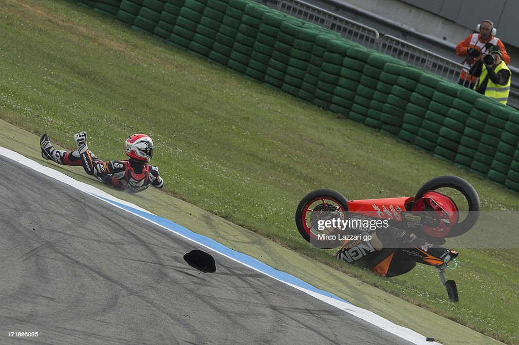 Mattia Pasini of Italy and NGM Mobile Forward Racing crashed out during the Moto2 W-U during the MotoGp Of Holland - Race at TT Circuit Assen on June 29, 2013 in Assen, Netherlands.