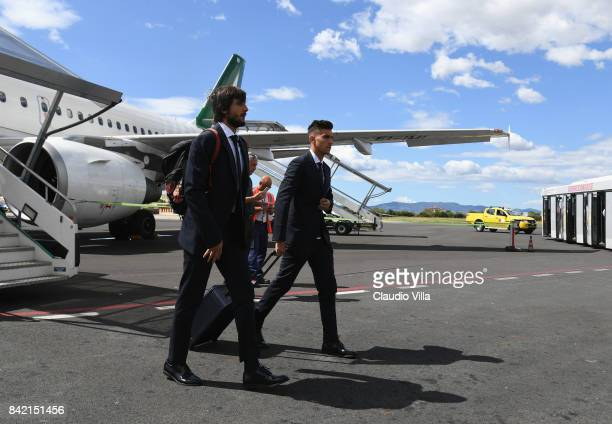 Mattia Perin and Lorenzo Pellegrini of Italy arrive at Florence Airport on September 3 2017 in Florence Italy