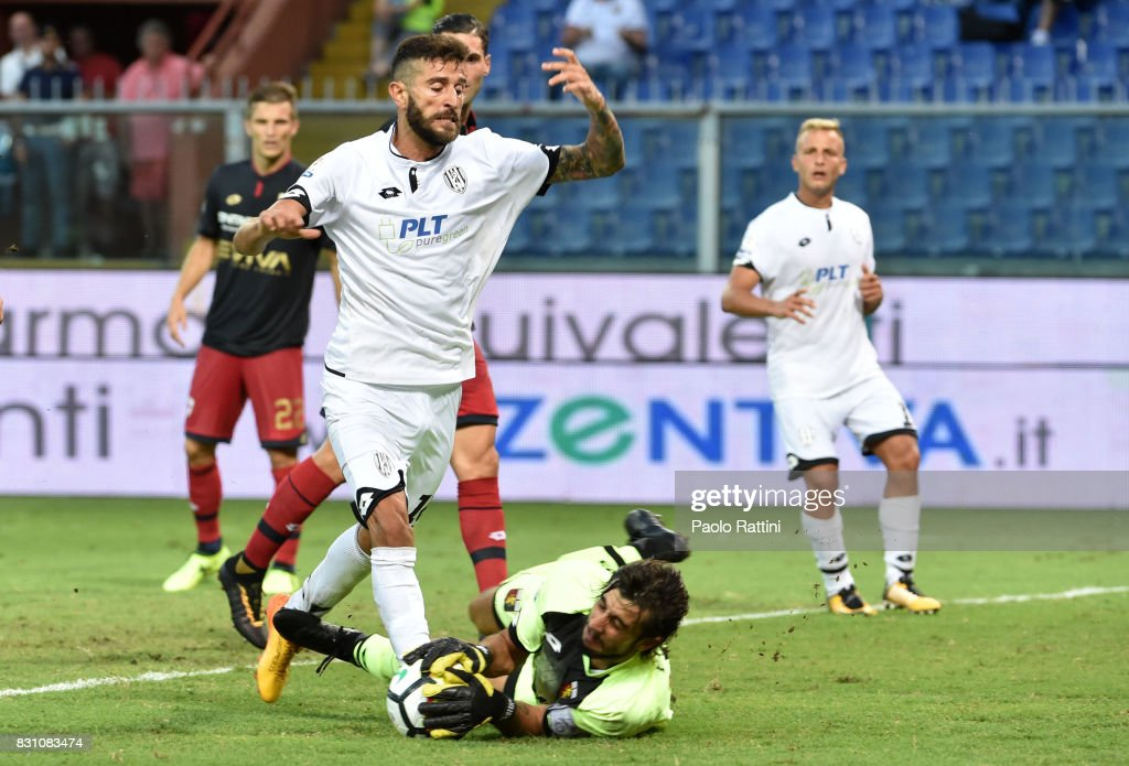 Mattia Perin (Genoa) and Marco Crimi (Cesena) during the TIM Cup match between Genoa CFC and AC Cesena at Stadio Luigi Ferraris on August 13, 2017 in Genoa, Italy.