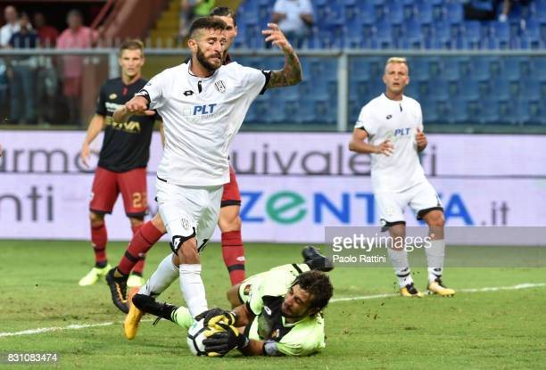 Mattia Perin and Marco Crimi during the TIM Cup match between Genoa CFC and AC Cesena at Stadio Luigi Ferraris on August 13 2017 in Genoa Italy