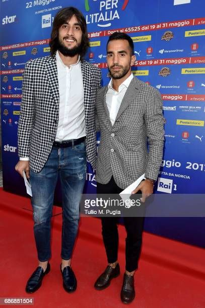 Mattia Perin and Marco Sau attend 'Un Goal per l'Italia' Event on May 22 2017 in Norcia Italy