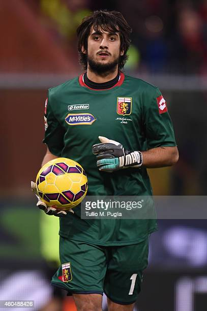 Mattia Perin goalkeeper of Genoa in action during the Serie A match between Genoa CFC and AC Milan at Stadio Luigi Ferraris on December 7 2014 in...