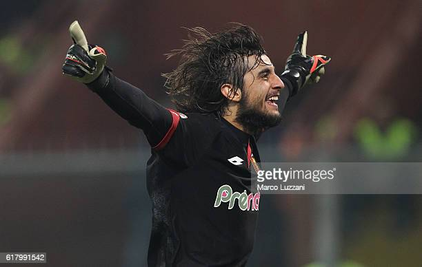 Mattia Perin of Genoa CFC celebrates his teammates goal during the Serie A match between Genoa CFC and AC Milan at Stadio Luigi Ferraris on October...