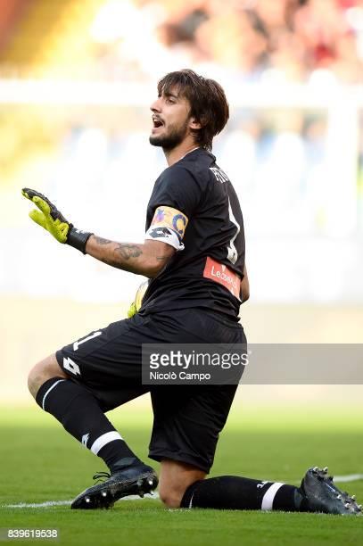 Mattia Perin of Genoa CFC gestures during the Serie A football match between Genoa CFC and Juventus FC Juventus FC wins 42 over Genoa CFC