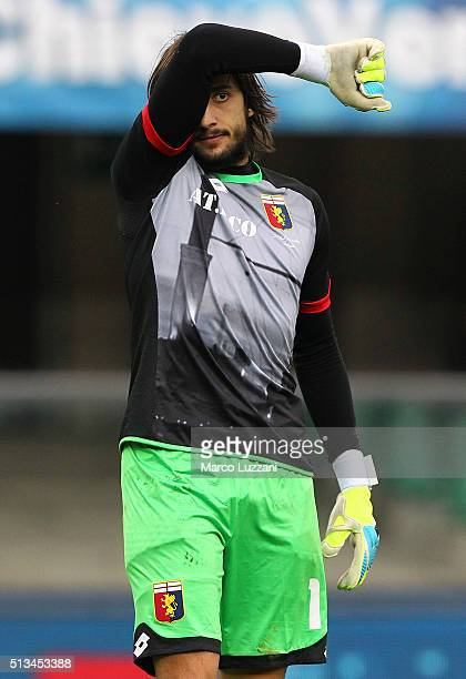 Mattia Perin of Genoa CFC gestures during the Serie A match between AC Chievo Verona and Genoa CFC at Stadio Marc'Antonio Bentegodi on February 28...
