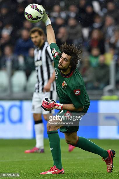 Mattia Perin of Genoa CFC in action during the Serie A match between Juventus FC and Genoa CFC at Juventus Arena on March 22 2015 in Turin Italy