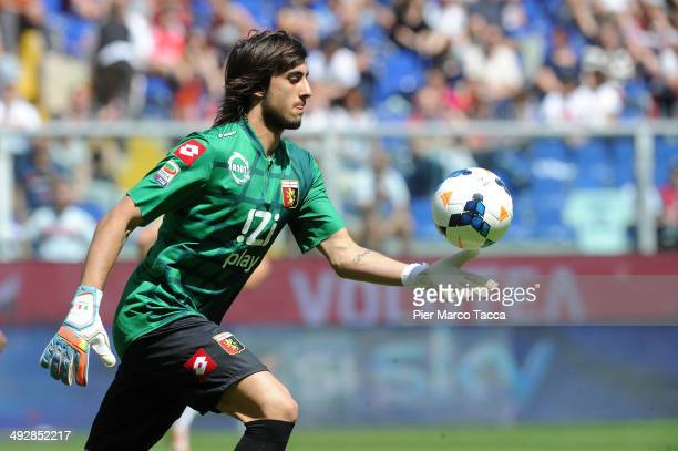 Mattia Perin of Genoa CFC in action during the Serie A match between Genoa CFC and AS Roma at Stadio Luigi Ferraris on May 18 2014 in Genoa Italy