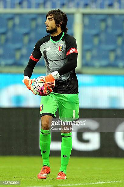 Mattia Perin of Genoa CFC in action during the Serie A match between Genoa CFC and AC Chievo Verona at Stadio Luigi Ferraris on October 18 2015 in...