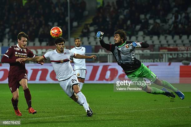 Mattia Perin of Genoa CFC in action during the Serie A match between Torino FC and Genoa CFC at Stadio Olimpico di Torino on October 28 2015 in Turin...