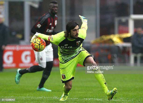 Mattia Perin of Genoa CFC in action during the Serie A match between AC Milan and Genoa CFC at Stadio Giuseppe Meazza on February 14 2016 in Milan...