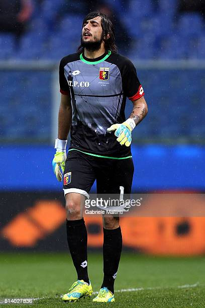 Mattia Perin of Genoa CFC in action during the Serie A match between Genoa CFC and Empoli FC at Stadio Luigi Ferraris on March 6 2016 in Genoa Italy