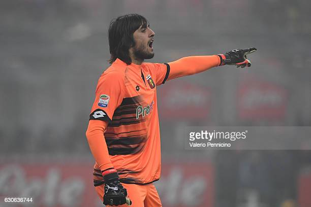 Mattia Perin of Genoa CFC issues instructions during the Serie A match between FC Internazionale and Genoa CFC at Stadio Giuseppe Meazza on December...