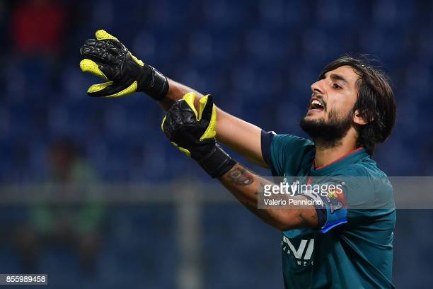 Mattia Perin of Genoa CFC issues instructions during the Serie A match between Genoa CFC and Bologna FC at Stadio Luigi Ferraris on September 30 2017...