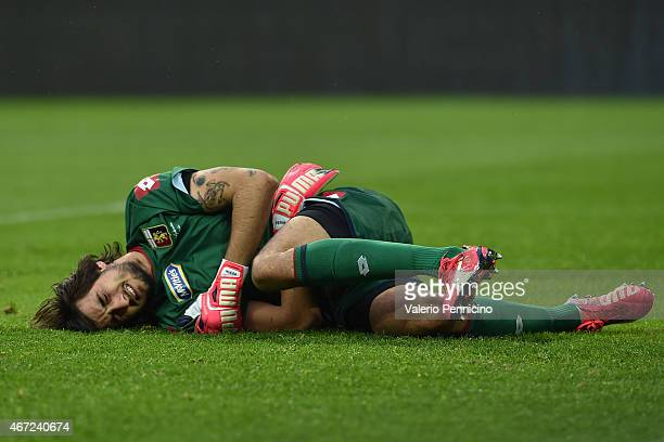 Mattia Perin of Genoa CFC lies on the pitch injured during the Serie A match between Juventus FC and Genoa CFC at Juventus Arena on March 22 2015 in...