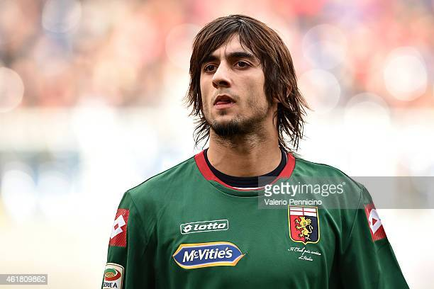 Mattia Perin of Genoa CFC looks on during the Serie A match between Genoa CFC and US Sassuolo Calcio at Stadio Luigi Ferraris on January 18 2015 in...