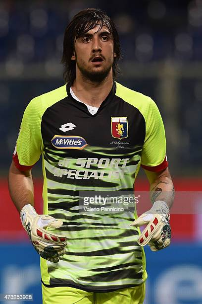 Mattia Perin of Genoa CFC looks on during the Serie A match between Genoa CFC and Torino FC at Stadio Luigi Ferraris on May 11 2015 in Genoa Italy