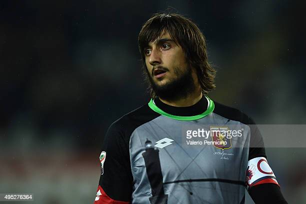 Mattia Perin of Genoa CFC looks on during the Serie A match between Torino FC and Genoa CFC at Stadio Olimpico di Torino on October 28 2015 in Turin...