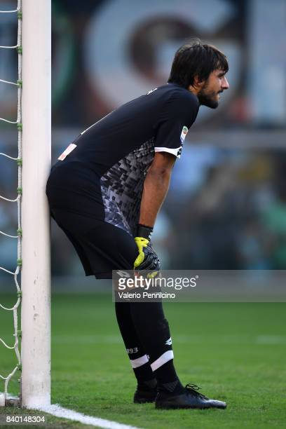 Mattia Perin of Genoa CFC looks on during the Serie A match between Genoa CFC and Juventus at Stadio Luigi Ferraris on August 26 2017 in Genoa Italy