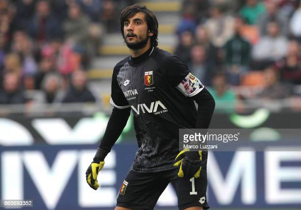 Mattia Perin of Genoa CFC looks on during the Serie A match between AC Milan and Genoa CFC at Stadio Giuseppe Meazza on October 22 2017 in Milan Italy