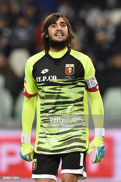 Mattia Perin of Genoa CFC reacts during the Serie A match between Juventus FC and Genoa CFC at Juventus Arena on February 3 2016 in Turin Italy