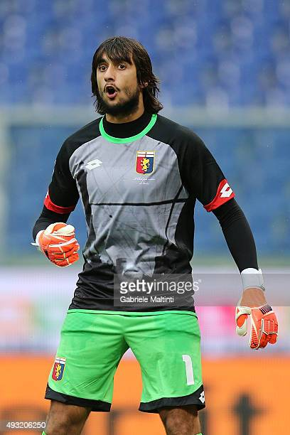 Mattia Perin of Genoa CFC reacts during the Serie A match between Genoa CFC and AC Chievo Verona at Stadio Luigi Ferraris on October 18 2015 in Genoa...