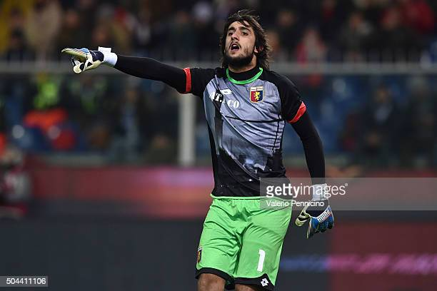 Mattia Perin of Genoa CFC reacts during the Serie A match between Genoa CFC and UC Sampdoria at Stadio Luigi Ferraris on January 5 2016 in Genoa Italy