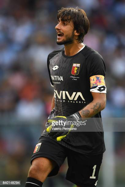 Mattia Perin of Genoa CFC reacts during the Serie A match between Genoa CFC and Juventus at Stadio Luigi Ferraris on August 26 2017 in Genoa Italy