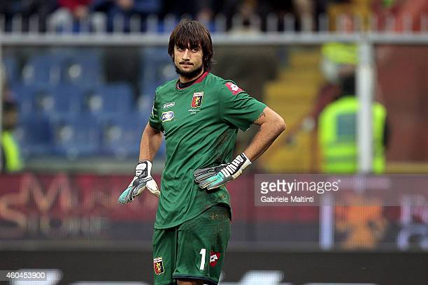 Mattia Perin of Genoa CFC shows his dejection during the Serie A match between Genoa CFC and AS Roma at Stadio Luigi Ferraris on December 14 2014 in...