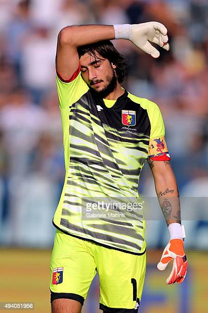Mattia Perin of Genoa CFC shows his dejection during the Serie A match between Empoli FC and Genoa CFC at Stadio Carlo Castellani on October 24 2015...