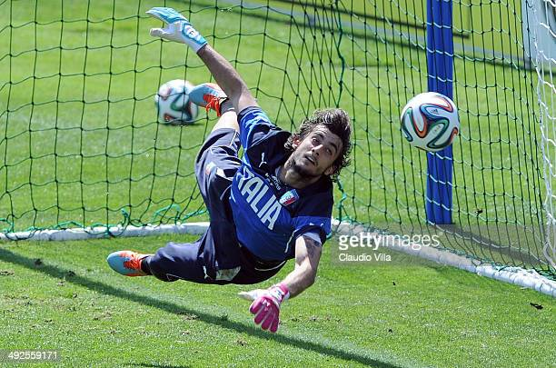 Mattia Perin of Italy during a training session at Coverciano on May 21 2014 in Florence Italy