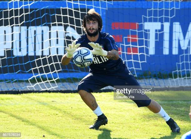 Mattia Perin of Italy in action during a training session at Italy club's training ground at Coverciano on October 4 2017 in Florence Italy