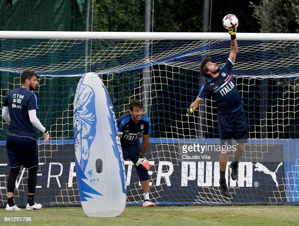 Mattia Perin of Italy in action during the training session at Italy club's training ground at Coverciano on August 31 2017 in Florence Italy