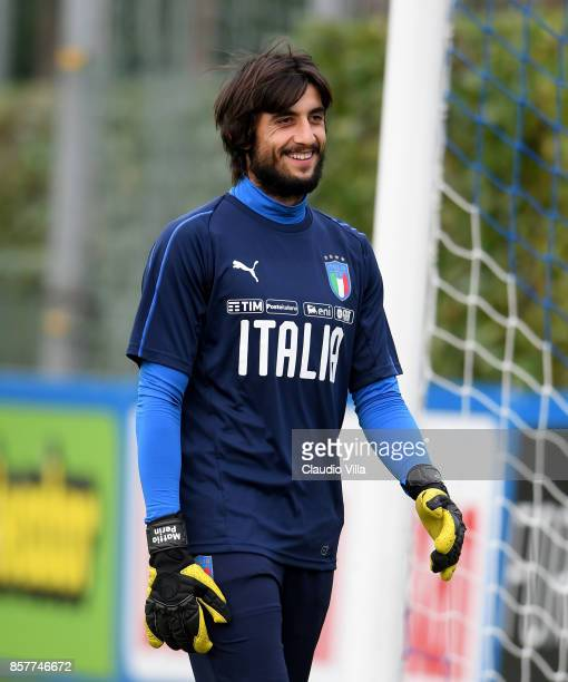 Mattia Perin of Italy looks on during a training session at Italy club's training ground at Coverciano on October 5 2017 in Florence Italy