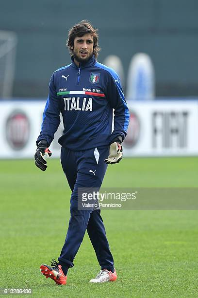 Mattia Perin of Italy looks on during an Italy training session at Juventus Center Vinovo on October 8 2016 in Vinovo Italy