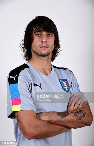 Mattia Perin of Italy poses during the official portrait session at Coverciano on November 10 2015 in Florence Italy