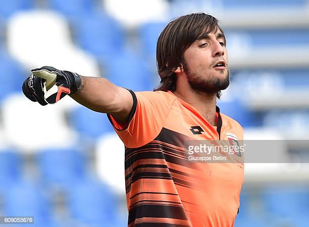 Mattia Perin of US Sassuolo and Serge Gakpè of Genoa CFC in action during the Serie A match between US Sassuolo and Genoa CFC at Mapei Stadium Citta'...