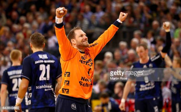 Mattias Andersson goaltender of Flensburg celebrates during the DKB HBL Bundesliga match between SG FlensburgHandewitt and TSV HannoverBurgdorf on...