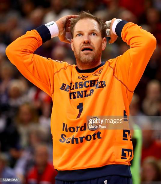 Mattias Andersson goaltender of Flensburg reacts during the DKB HBL Bundesliga match between SG FlensburgHandewitt and TSV HannoverBurgdorf on...