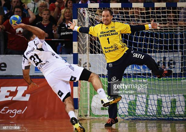 Mattias Andersson of Flensburg makes a save during the DKB Handball Bundeslga match between SG FlensburgHandewitt and THW Kiel at FlensArena on...