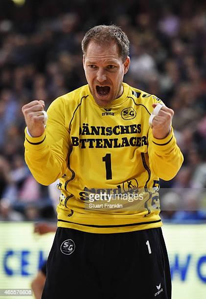 Mattias Andesson of Flensburg celebrates during the Bundesliga handball game between SG FlensburgHandewitt and SG BBM Bietigheim at the Flens Arenaon...