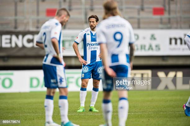 Mattias Bjarsmyr of IFK Goteborg dejected after the Allsvenskan match between IFK Goteborg and Athletic FC Eskilstuna at Gamla Ullevi on April 17...