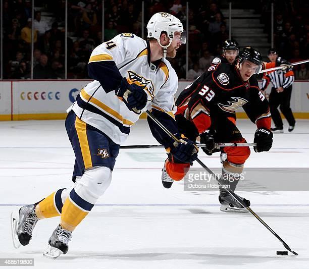 Mattias Ekholm of the Nashville Predators handles the puck against the Anaheim Ducks on March 15 2015 at Honda Center in Anaheim California