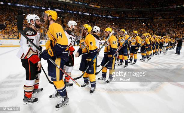 Mattias Ekholm of the Nashville Predators shakes hands with Ryan Kesler of the Anaheim Ducks after a 63 series win in Game Six of the Western...